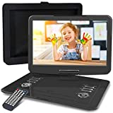 "WONNIE 16.9"" Portable DVD/CD Player with 14.1"" Large Swivel Screen, Car Headrest Case, 5 Hrs 4000mAH Rechargeable Battery, Regions Free, Support USB/SD Card/ Sync TV, High Volume Speaker"