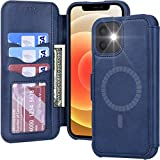 Arae Compatible with iPhone 12 Case and iPhone 12 Pro Case Wallet [Magnetic Wireless Charge] with Card Holder [RFID Blocking] for iPhone 12/12 Pro - Blue